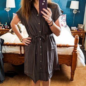 Grey/ navy stripe shirt dress